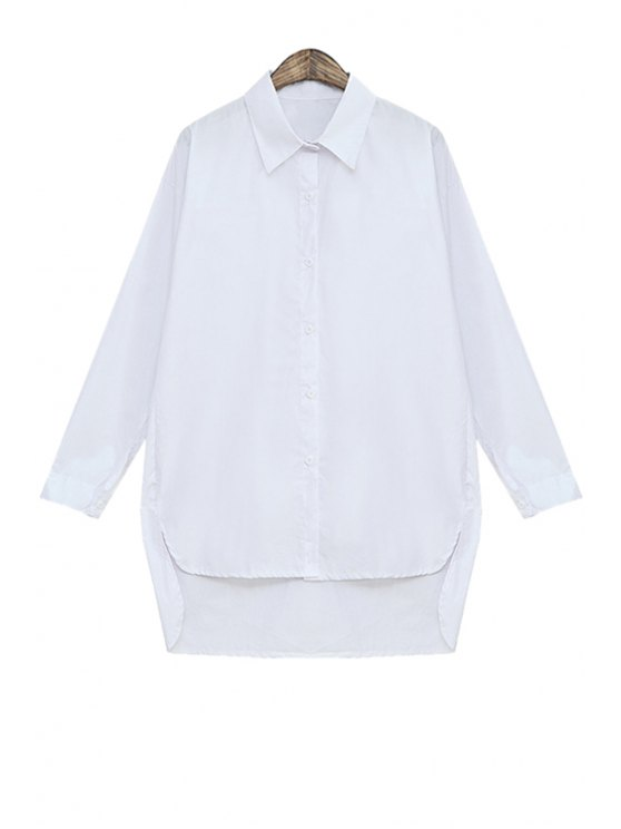 best White High-Low Hem Long Sleeve Shirt - WHITE ONE SIZE(FIT SIZE XS TO M)