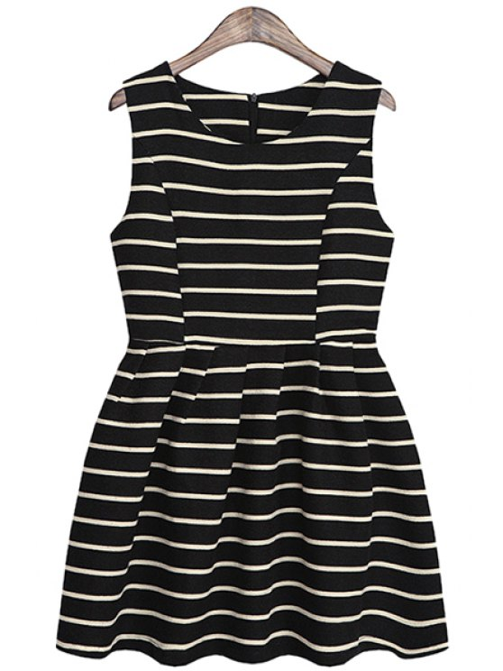 unique Striped A-Line Sundress - BLACK ONE SIZE(FIT SIZE XS TO M)
