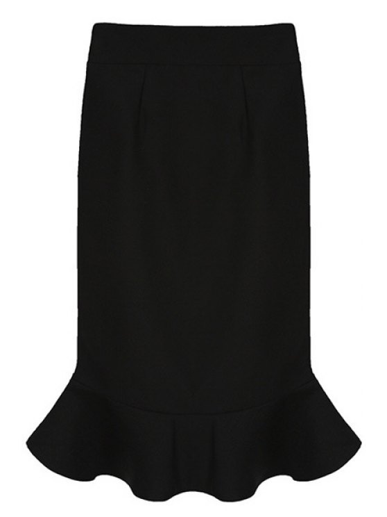 shops Solid Color Ruffles Bodycon Skirt - BLACK ONE SIZE(FIT SIZE XS TO M)