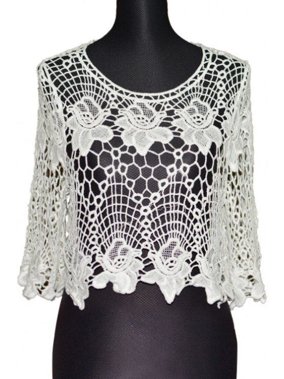 hot Floral Pattern Openwork Half Sleeve Tank Top - WHITE ONE SIZE(FIT SIZE XS TO M)