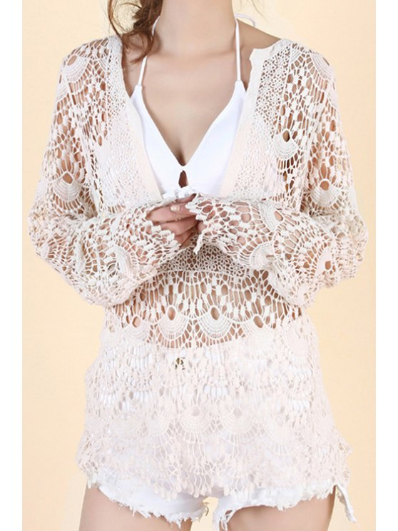 trendy Solid Color Openwork Tie-Up Coat - WHITE ONE SIZE(FIT SIZE XS TO M)