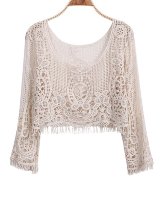 chic Fringe Openwork Long Sleeve Tank Top - APRICOT ONE SIZE(FIT SIZE XS TO M)
