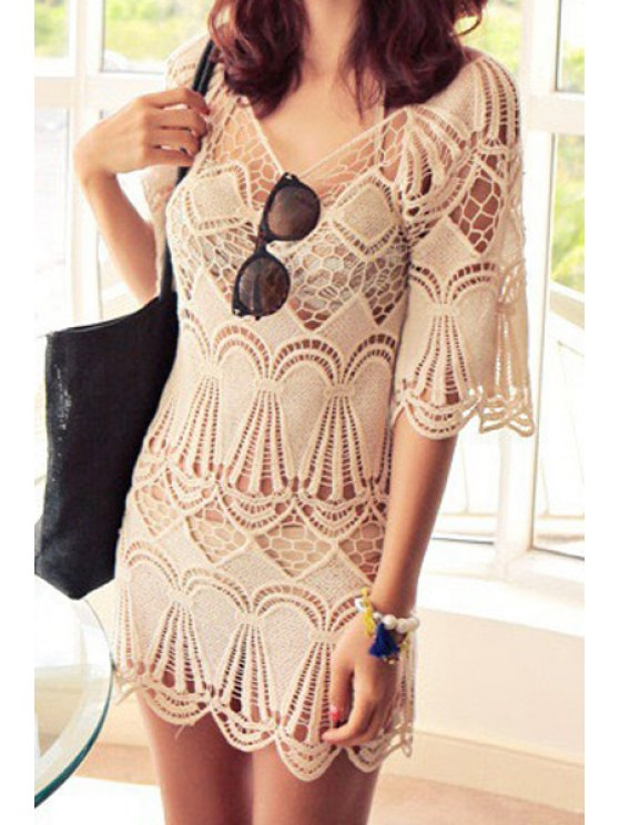 fashion Openwork Solid Color Half Sleeve Dress - OFF-WHITE M