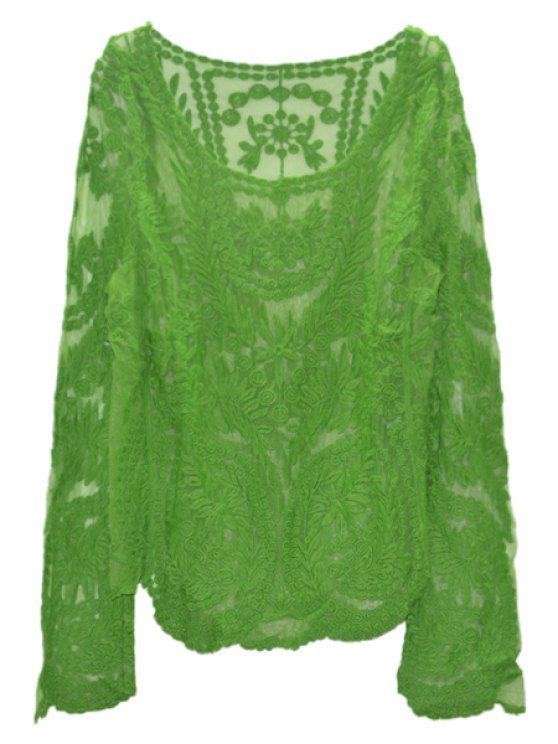 online Solid Color See-Through Long Sleeve T-Shirt - GRASS GREEN 2XL