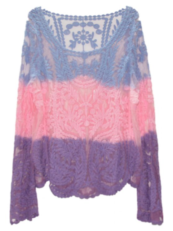 new Color Block See-Through Long Sleeve T-Shirt - PURPLE M