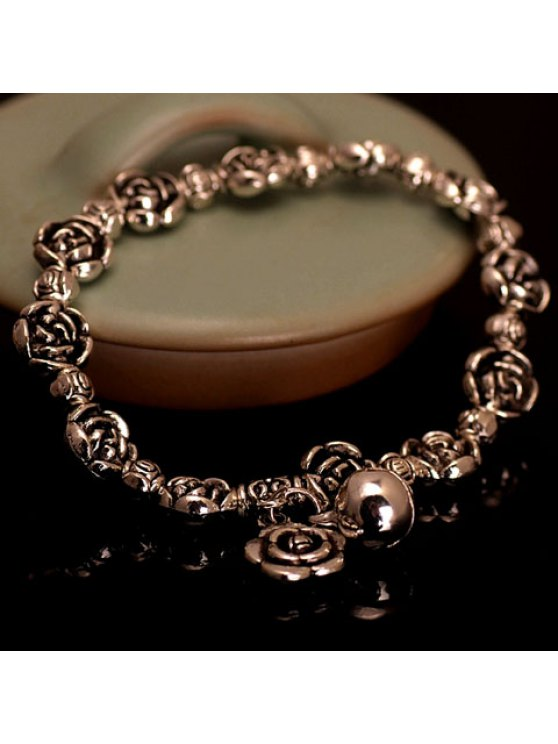 affordable Retro Flower Beads Design Bracelet For Women - GOLDEN