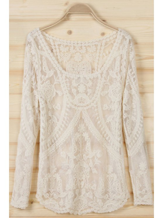 sale See-Through Birds Pattern Long Sleeve T-Shirt - OFF-WHITE ONE SIZE(FIT SIZE XS TO M)