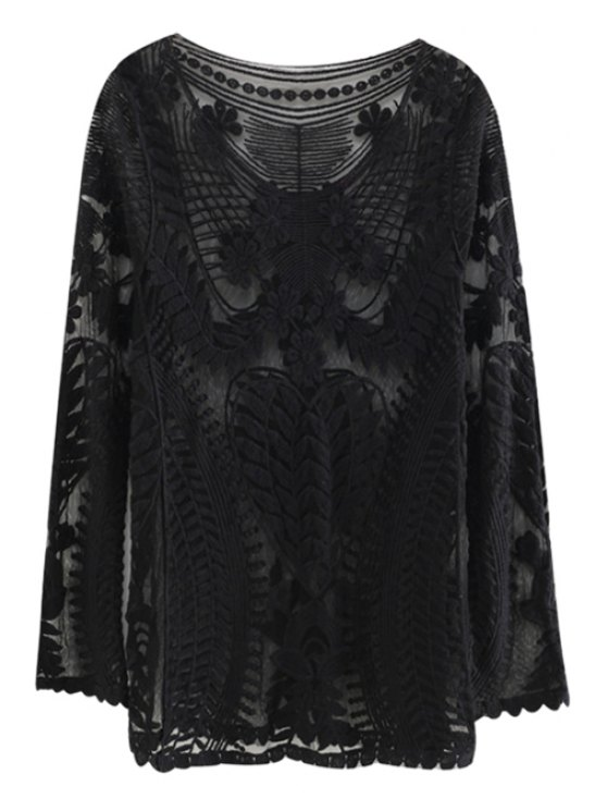 affordable Lace Voile See-Through T-Shirt - BLACK ONE SIZE(FIT SIZE XS TO M)