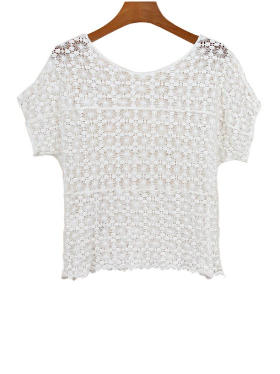 women Openwork Solid Color Short Sleeve T-Shirt - WHITE ONE SIZE(FIT SIZE XS TO M)
