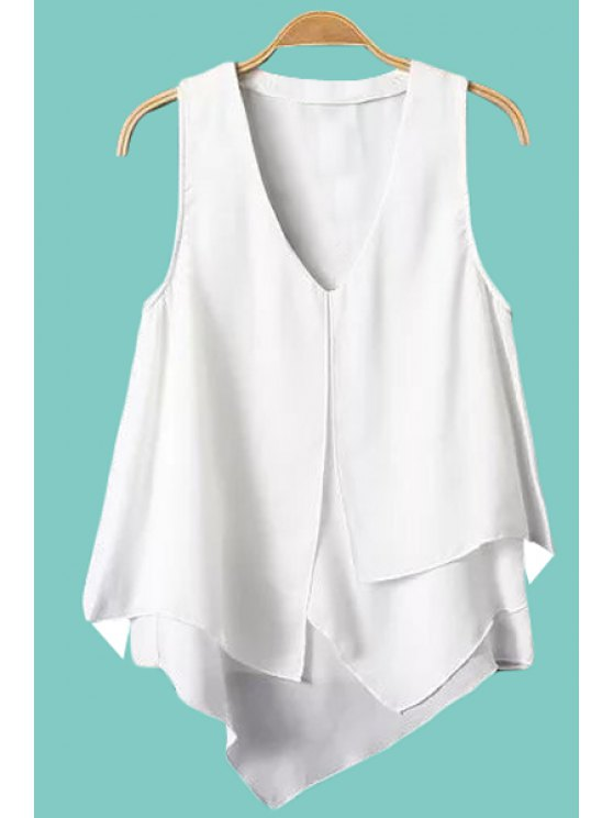 latest Chiffon Solid Color Sleeveless Blouse - WHITE S