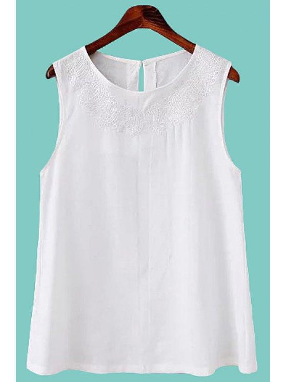 shop White Embroidery Tank Top - WHITE S
