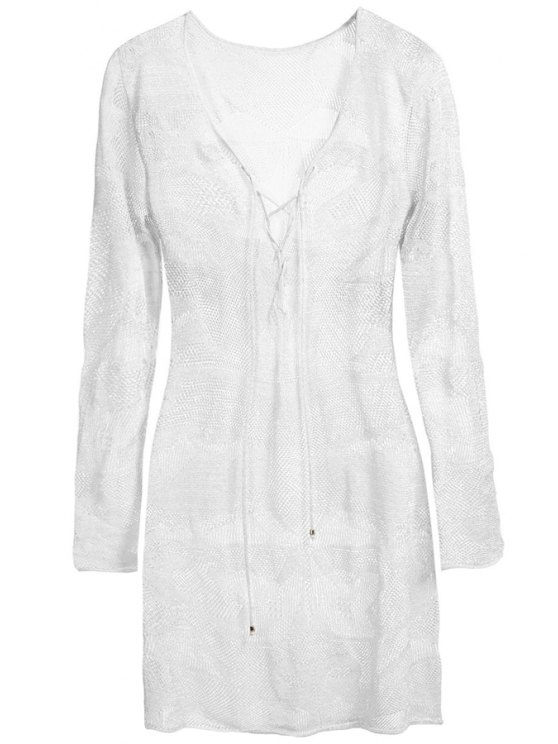 best Plunging Neck Tie-Up Openwork Dress - WHITE ONE SIZE(FIT SIZE XS TO M)
