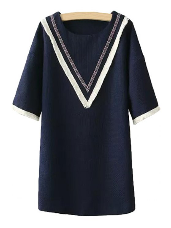 fancy Striped Fringe 3/4 Sleeve Dress - PURPLISH BLUE ONE SIZE(FIT SIZE XS TO M)