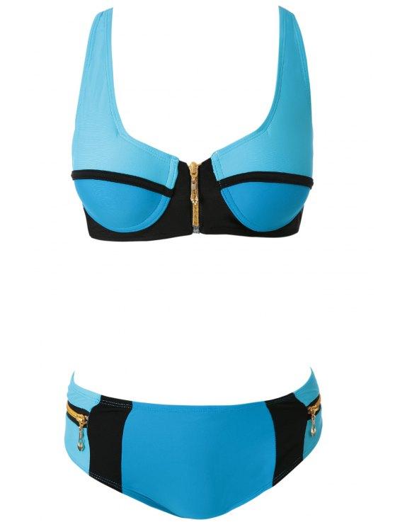 Bikini Bloquear Cremalleras Color Configurar - Lago Azul M