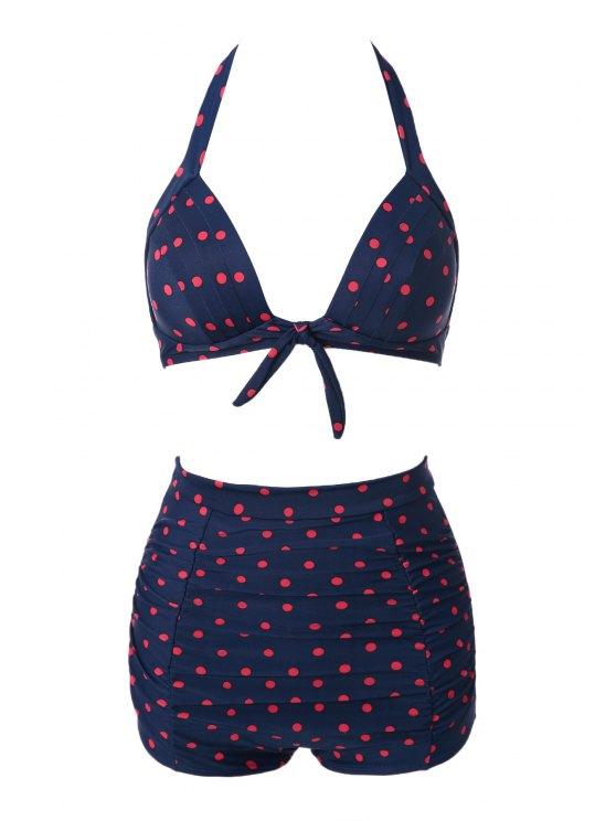 affordable Orange Polka Dot Halter Bikini Set - RED WITH BLACK S