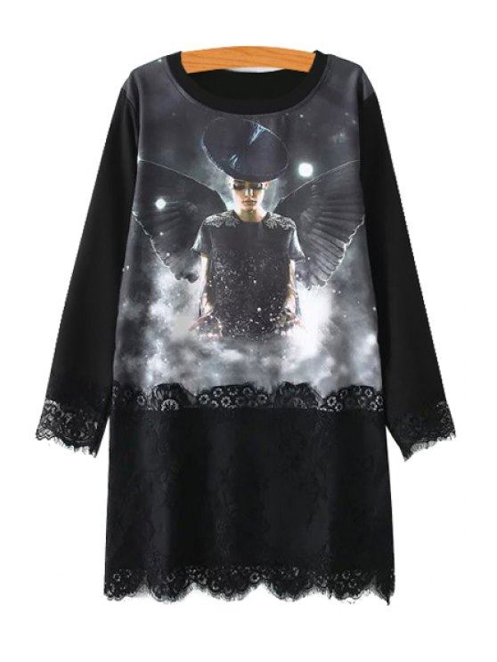 outfit Figure Print Lace Spliced T-Shirt - BLACK M