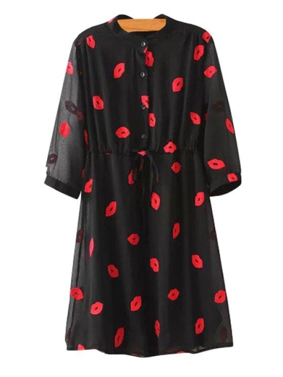 women's Lip Embroidery 3/4 Sleeve Chiffon Dress - BLACK S