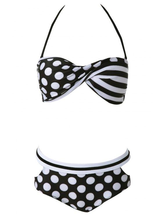 best Halter Polka Dot Bikini Set - WHITE S