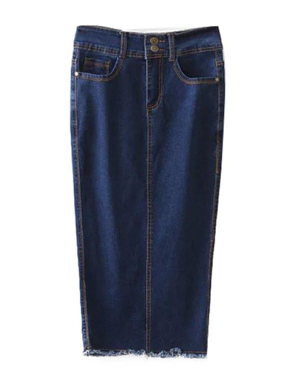 women's Blue Denim High Waisted Skirt - DEEP BLUE S