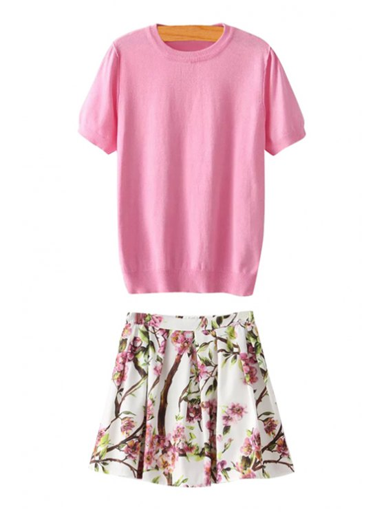 best Pink Short Sleeve Knitwear and Floral Skirt Suit - PINK AND WHITE S