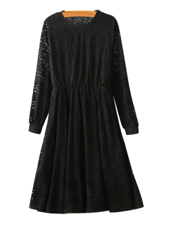 shop Lace Long Sleeve A-Line Dress - BLACK ONE SIZE(FIT SIZE XS TO M)