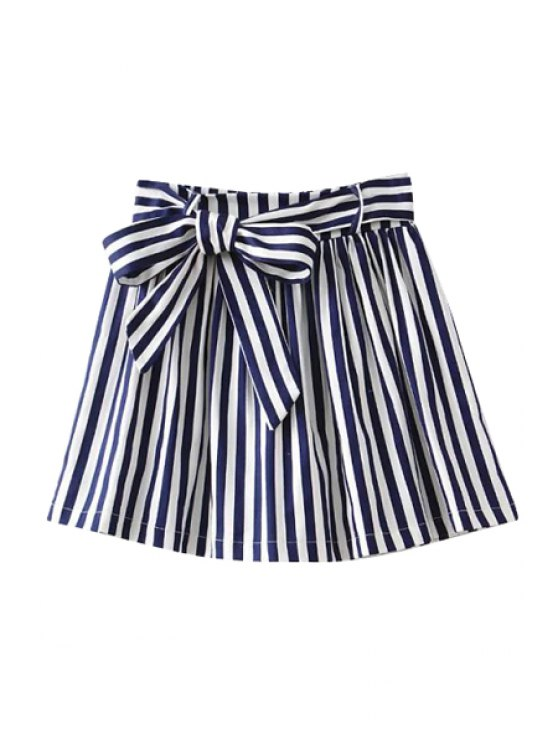 hot Striped Self-Tie A-Line Skirt - STRIPE S