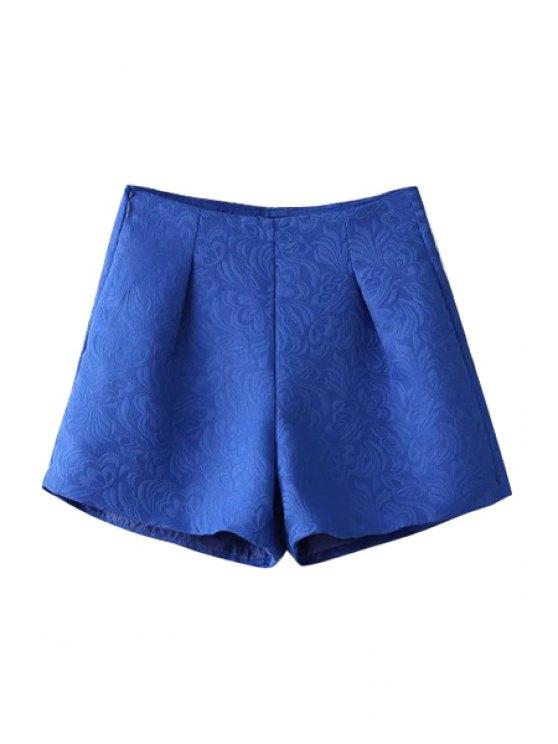 fashion Wide Leg Solid Color Shorts - SAPPHIRE BLUE S