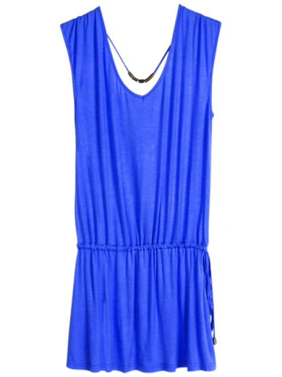 affordable Solid Color V-Neck Elastic Waisted Dress - SAPPHIRE BLUE ONE SIZE(FIT SIZE XS TO M)