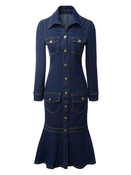 hot Flouncing Denim Long Sleeve Dress - DEEP BLUE S