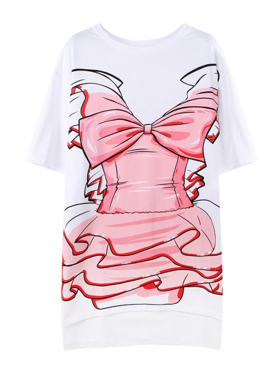 sale Pink Bowknot Print T-Shirt - WHITE ONE SIZE(FIT SIZE XS TO M)