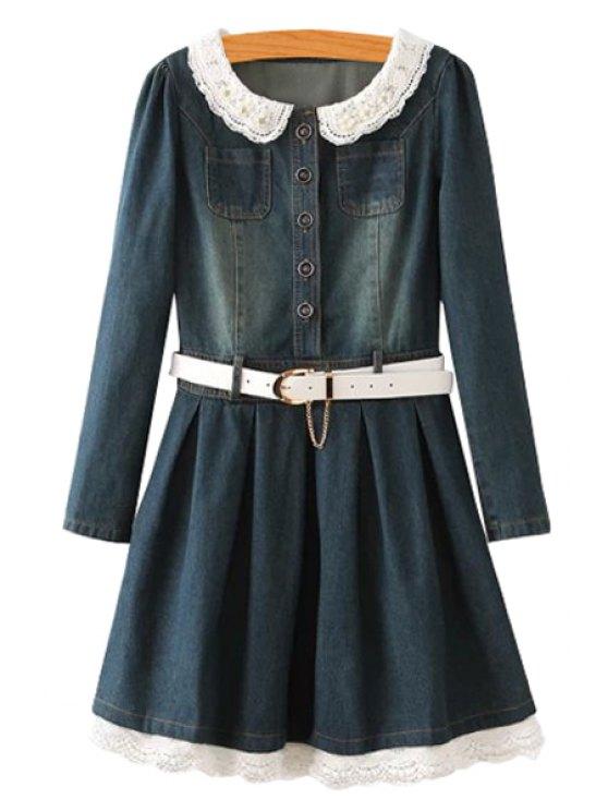 hot Denim Long Sleeve with Belt Dress - BLACKISH GREEN M