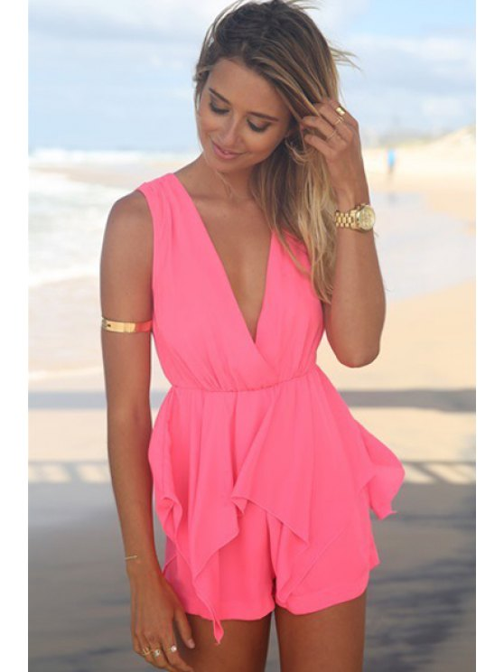 fashion Solid Color Splicing Tie-Up Sleeveless Romper - ROSE S