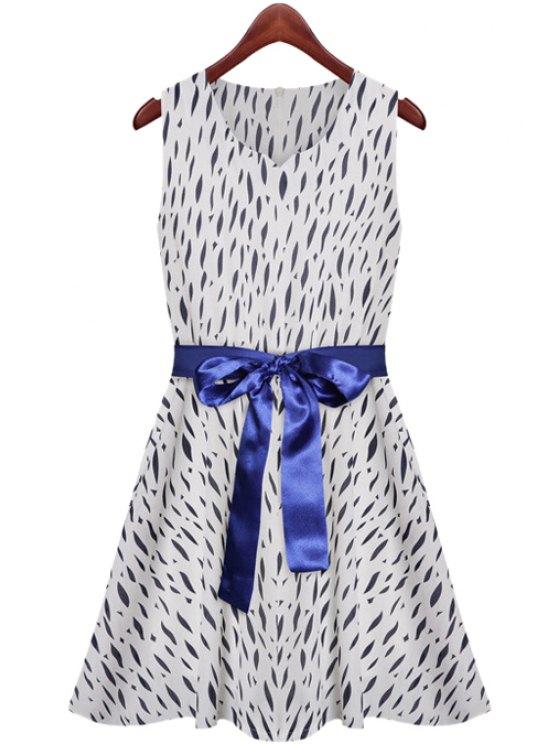chic Print Lace-Up A-Line Sundress - PURPLISH BLUE S