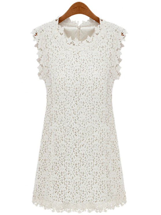 online Sleeveless Solid Color Lace Dress - OFF-WHITE S