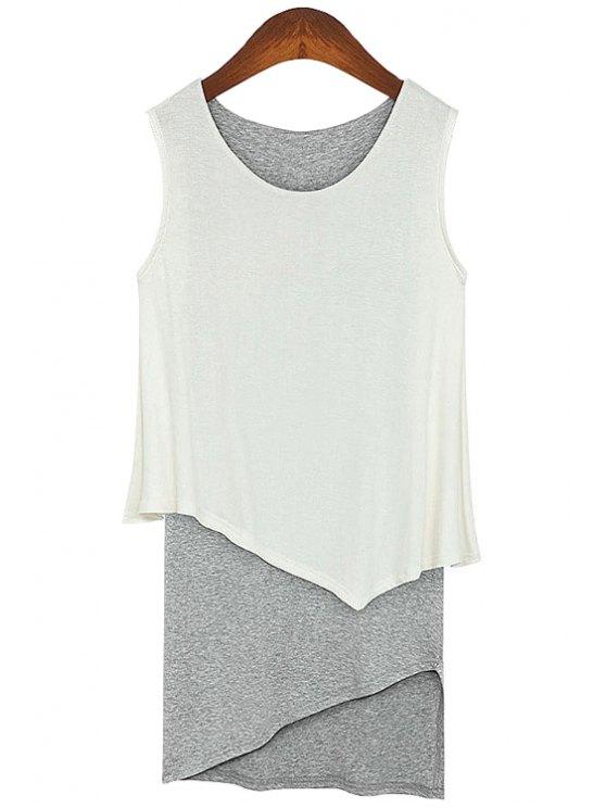 fashion Color Block Faux Twinset Sundress - WHITE S