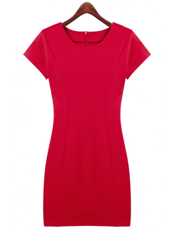 fashion Red Short Sleeve Slimming Dress - RED S