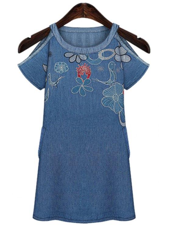 women's Embroidery Off-The-Shoulder Denim Dress - BLUE S