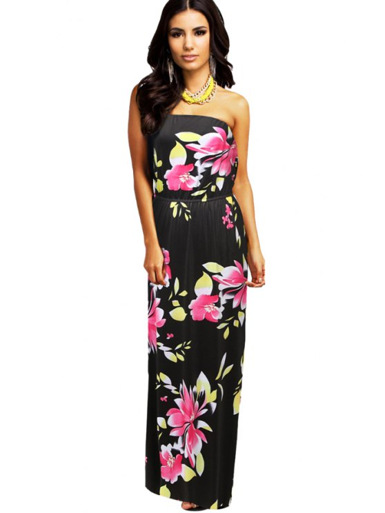outfits Strapless Floral Print Sleeveless Dress - BLACK S