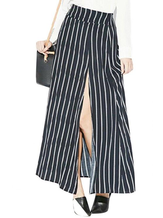 sale Side Slit Striped Skirt - BLACK S