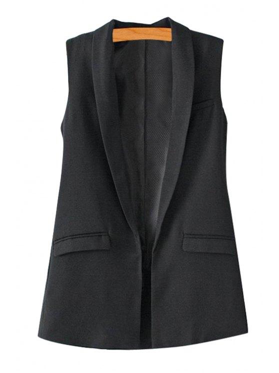 women Solid Color Turn-Down Collar Waistcoat - BLACK S