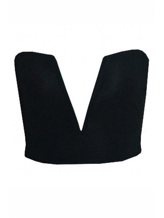 sale Solid Color V-Neck Strapless Crop Top - BLACK S