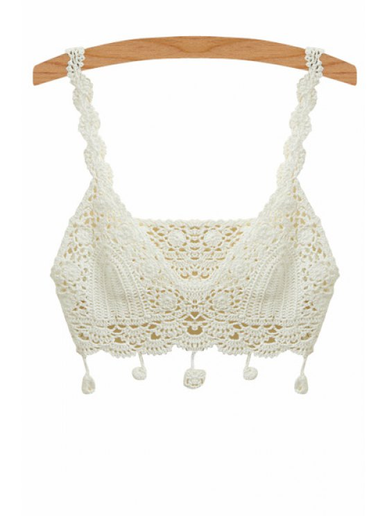 new Solid Color Straps Crochet Crop Top - WHITE ONE SIZE(FIT SIZE XS TO M)