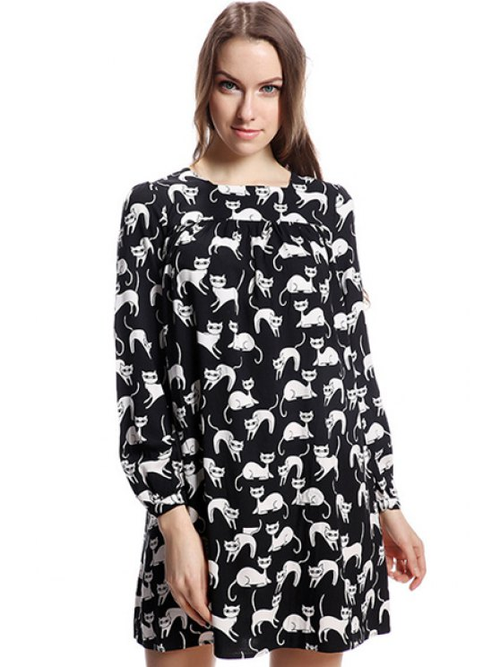 fashion Full Cat Print Long Sleeve Dress - BLACK XS