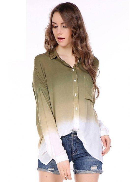 women's Color Block Pocket Long Sleeve Shirt - GREEN XS