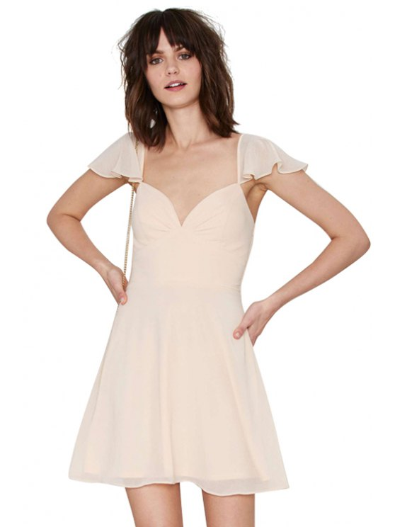 women's Solid Color Flounce Splicing Short Sleeve Dress - APRICOT XS