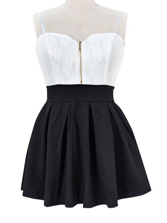lady Spaghetti Straps Color Block Dress - BLACK S