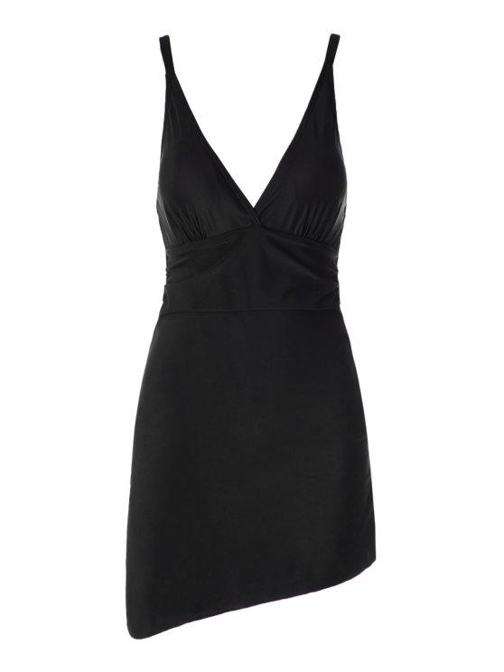 womens Plunging Neck Splicing One-Piece Swimwear - BLACK M