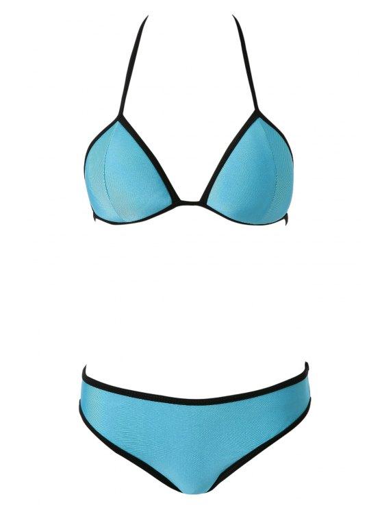 women's Color Block Tie-Up Bikini - BLUE S