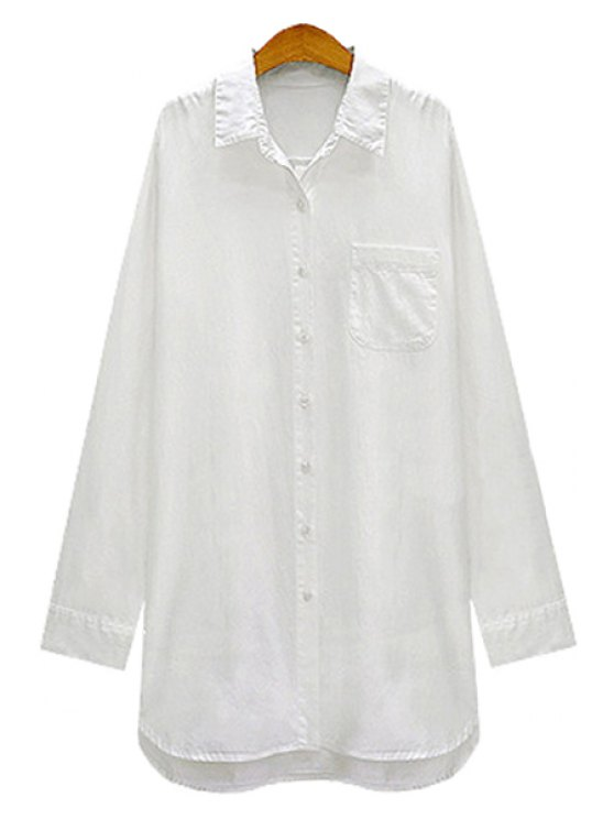 fancy White Shirt Neck Long Sleeve Shirt - WHITE S