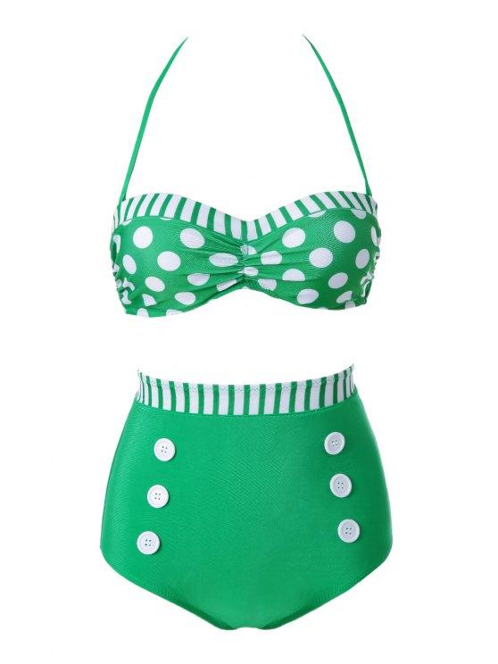 shop Polka Dot Stripe Color Block Bikini Set - GREEN L